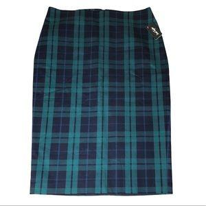NWT LORD & TAYLOR Tartan Plaid Pencil Skirt Navy Green Lined Cotton Career 6